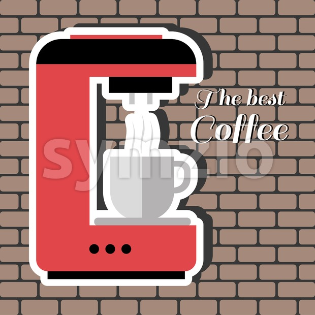 A red coffee machine, with the best coffee inscription, in outlines, over a brown background with bricks, digital vector image