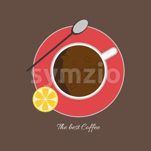 A cup of coffee with bubbles, a spoon and a slice of lemon, view from top, in outlines, over a brown background, digital vector image Stock Vector