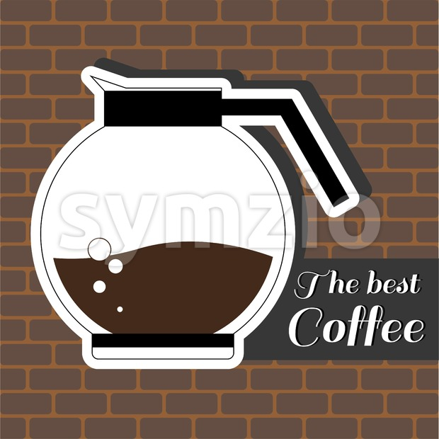 A jar of coffee, with the best coffee inscription, in outlines, over a brown background with bricks, digital vector image