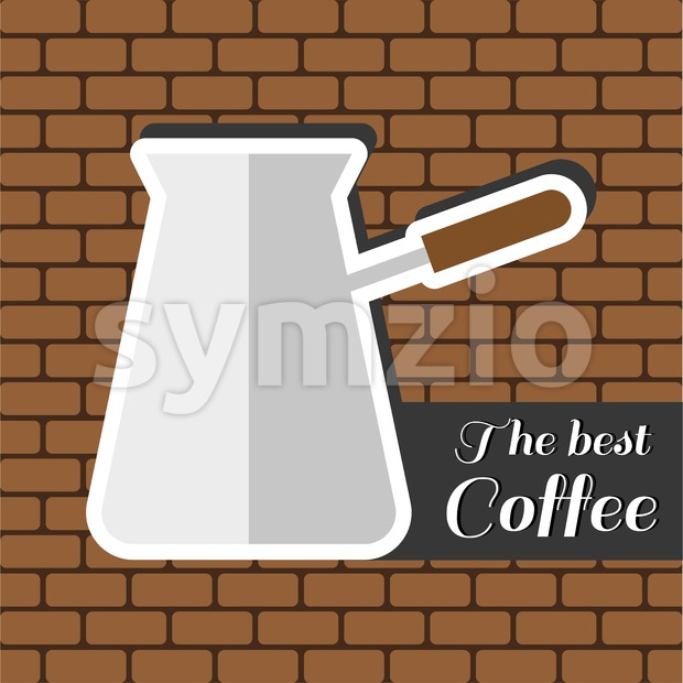A jar of coffee, with the best coffee inscription, in outlines, over a brown background with bricks, digital vector image Stock Vector
