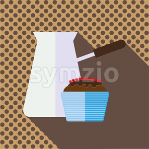 A jar of coffee with a brown chocolate cake with berries and shadow, in outlines, over a brown background with dots, digital vector image Stock Vector