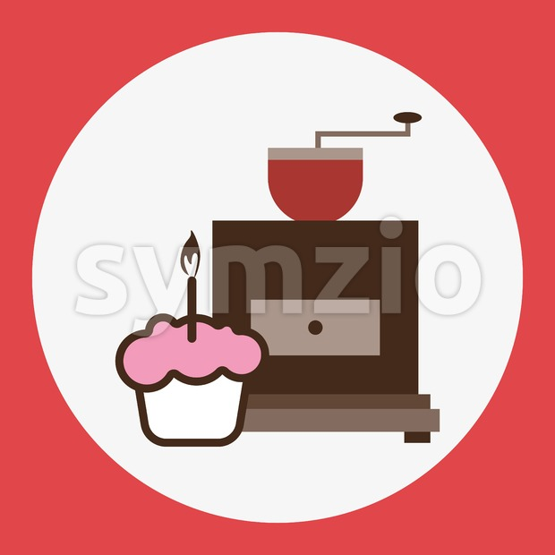 A brown coffee mill, with a pink cake with burning candle, in outlines, over a red round background, digital vector ...