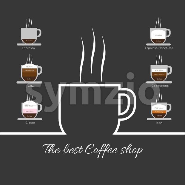 A white cup of coffee with steam, with best coffee shop inscription and espresso, latte, glasse, espresso macchiato and cappuccino, in outlines, over Stock Vector