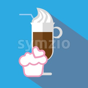 A glass of coffee with ice cream and straw, with a pink cake with heart and shadow, in outlines, over a blue background, digital vector image Stock Vector