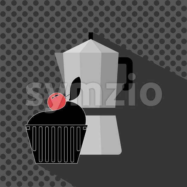 A metal jar of coffee with a black cake with red cherry on top and shadow, in outlines, over a ...