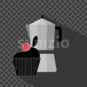 A metal jar of coffee with a black cake with red cherry on top and shadow, in outlines, over a silver background with dots, digital vector image Stock Vector