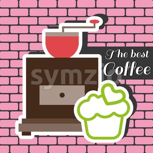 A coffee mill with a green cake with heart on top and best coffee shop inscription, in outlines, over a pink background with bricks, digital vector Stock Vector
