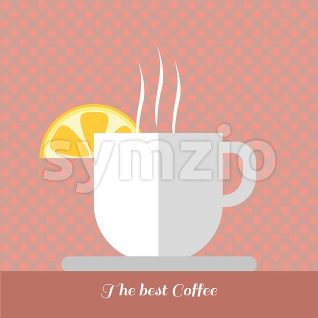 A white cup of coffee with steam and a slice of lemon on top with best coffee inscription, in outlines, over a red background with dots, digital Stock Vector