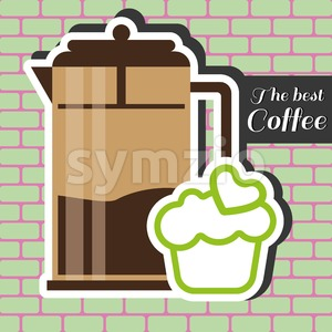 A brown jar of coffee with a green cake with heart on top and best coffee inscription, in outlines, over a pink and green background with bricks, Stock Vector