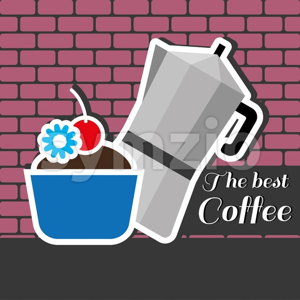 A silver metal jar of coffee with a blue cake with red cherry on top and best coffee inscription, in outlines, over a pink background with bricks, Stock Vector