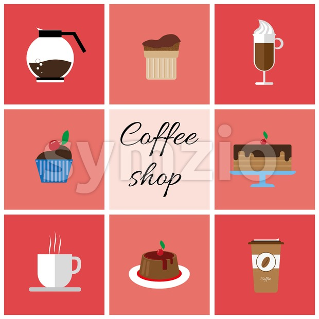 A set of colored coffee items, cup of coffee with steam, cake, glass, jug, jar, with coffee shop inscription, in outlines, over a white background, Stock Vector