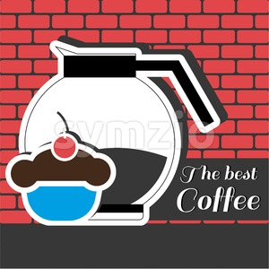 A jar of coffee with a blue cake with red cherry on top and best coffee inscription, in outlines, over a red background with bricks, digital vector Stock Vector