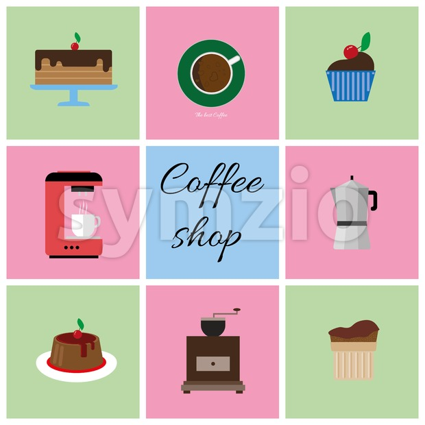 A set of colored coffee items, cup of coffee with bubbles, cake, glass, jug, jar, with coffee shop inscription, in outlines, over a white background, Stock Vector