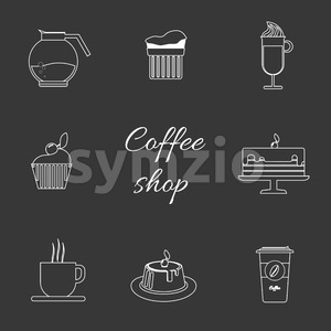 A monochrome set of coffee items, cup of coffee with steam, cake, glass, jug, jar, with coffee shop inscription, in outlines, over a silver Stock Vector