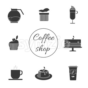 A monochrome set of coffee items, cup of coffee with steam, cake, glass, jug, jar, with coffee shop inscription, in outlines, over a white background, Stock Vector