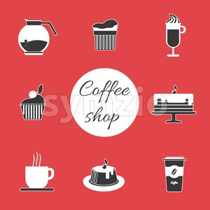 A monochrome set of coffee items, cup of coffee with steam, cake, glass, jug, jar, with coffee shop inscription, in outlines, over a red background, Stock Vector