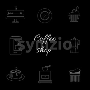A monochrome set of coffee items, cup of coffee with steam, cake, glass, jug, jar, with coffee shop inscription, in outlines, over a black background, Stock Vector
