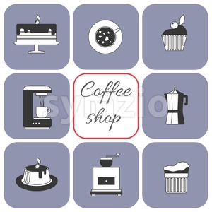 A set of coffee items, cup of coffee with steam, cake, glass, jug, jar, with coffee shop inscription, in outlines, over a white background, digital Stock Vector
