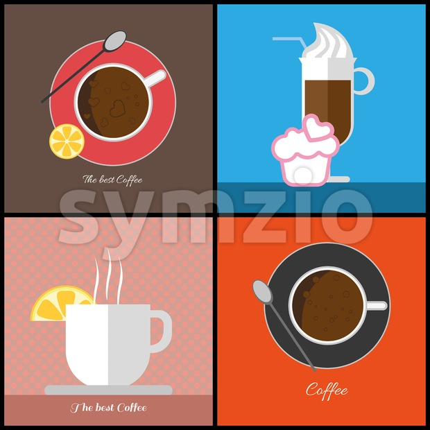 A set of coffee items, cup of coffee with bubbles, glass with ice cream, cup with steam and a slice ...