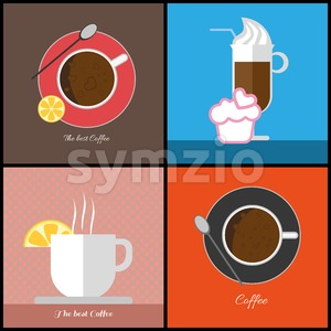 A set of coffee items, cup of coffee with bubbles,  glass with ice cream, cup with steam and a slice of lemon, in outlines, digital vector image Stock Vector