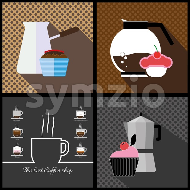 A set of coffee items, jars of coffee and cakes with the best coffee shops inscription, in outlines, over colored backgrounds with bricks, digital Stock Vector