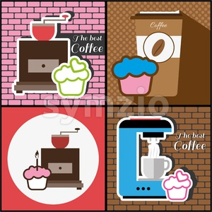 A set of coffee items, coffee mill, coffee maker and cakes, in outlines, over colored backgrounds with bricks, digital vector image Stock Vector
