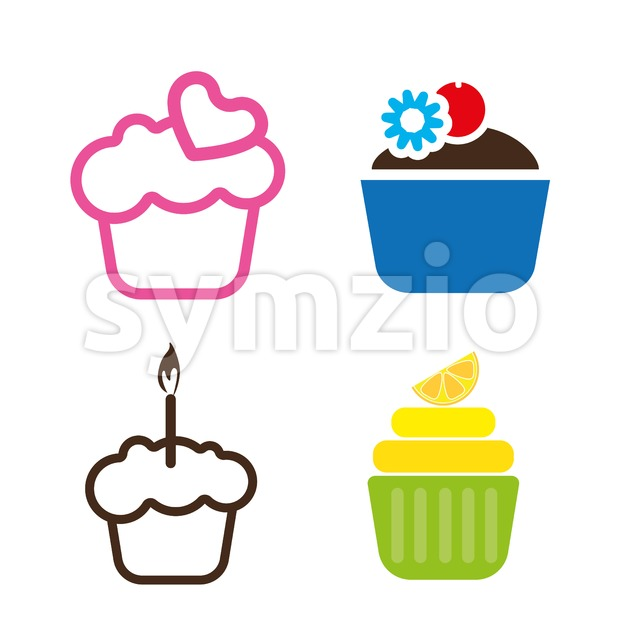 A set of colored cakes, with heart, lemon and candle in outlines, over a white background, digital vector image Stock Vector