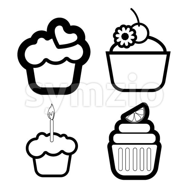 A set of four cakes, with heart, lemon and candle in outlines, over a white background, digital vector image Stock Vector