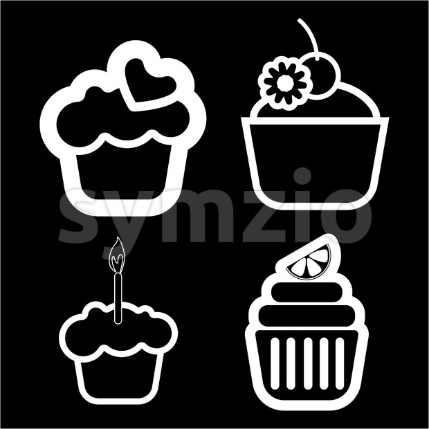 A set of four cakes, with heart, lemon and candle in outlines, over a black background, digital vector image Stock Vector
