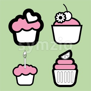 A set of four colored cakes, with heart, lemon and candle in outlines, over a green background, digital vector image Stock Vector