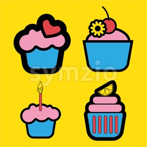 A set of four colored cakes, with heart, lemon and candle in outlines, over a yellow background, digital vector image Stock Vector