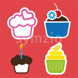 A set of four colored cakes, with heart, lemon and candle in outlines, over a red background, digital vector image Stock Vector