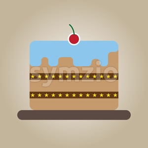 Candy card with a big chocolate cream cake with stars, a red cherry with green leaf on top, over brown background. Digital vector image. Stock Vector