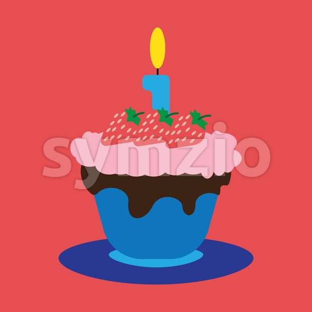 Candy card with a big fruit cream cake with chocolate and strawberries, big burning candle on top, over red background. Blue, yellow, red, green and Stock Vector