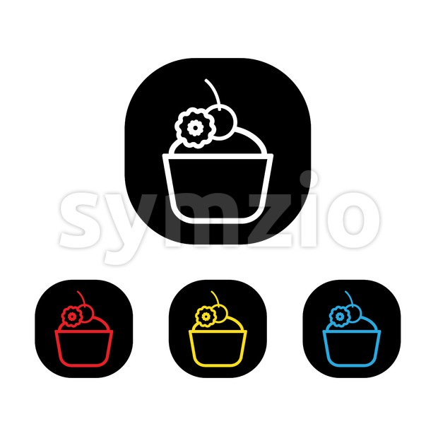 Card with a cream cake and candy with a cherry on top a white background, in outline style. Red, yellow, black and blue. Digital vector image. Stock Vector