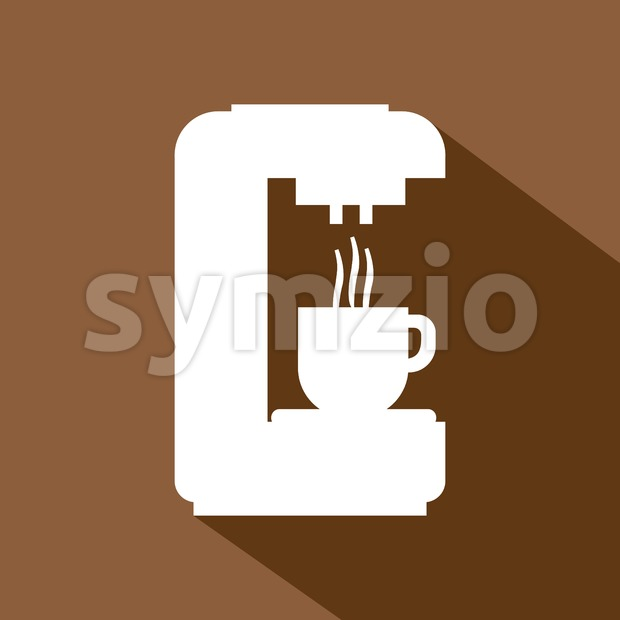 A white coffee machine pouring hot coffee in a white cup, in outlines, over a brown background, digital vector image Stock Vector