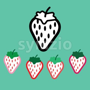 Strawberries with seeds set, in outline, over green background. Pink, red, skarlet and black. Digital vector image. Stock Vector