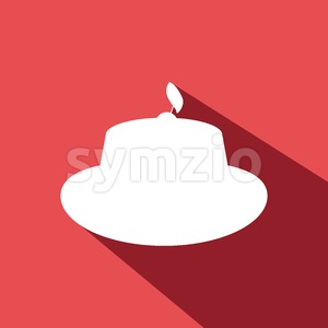 Candy card with a cream cake with shadow, a cherry with leaf on top, over red background. Digital vector image. Stock Vector