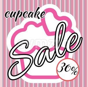Card with a cream cake with heart on top over a background in lines, in pink outline style with cupcake and sale text. Digital vector image. Stock Vector