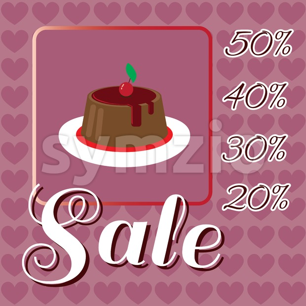Card with a cream cake with red cherry on top over a background with hearts, in pink outline style with sale text. Digital vector image. Stock Vector