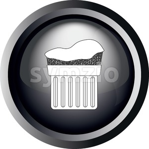 Card with a cream cake in round frame in 3d over a white background, in black and white outline style. Digital vector image. Stock Vector