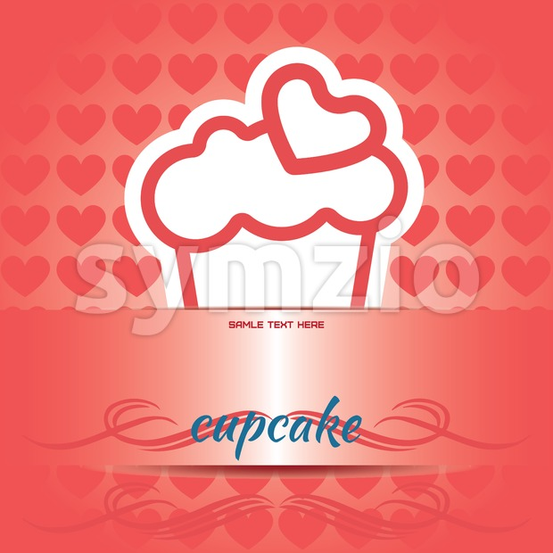 Card with a cream cake with a red heart on top over a red background, in outline style, cupcake text. ...