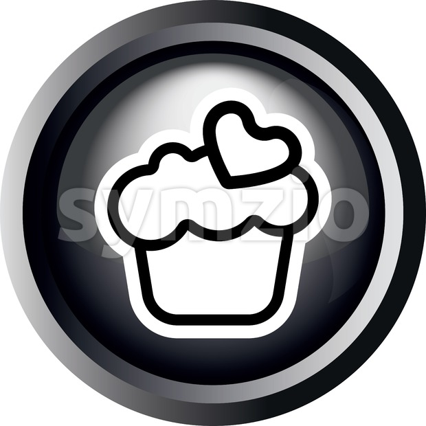 Card with a cream cake with heart on top in round frame in 3d over a white background, in black and white outline style. Digital vector image. Stock Vector