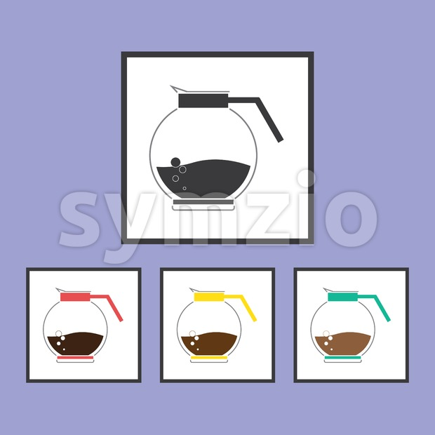 A jar of coffee with bubble set, in outlines, over a purple background. Red, yellow, green. Digital vector image