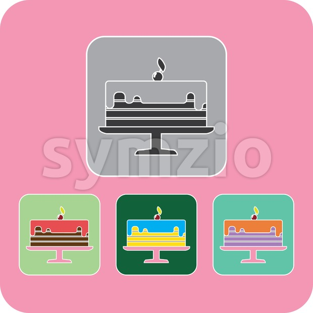 Candy card with chocolate cream cake with stars, a cherry with leaf on top, in outline, over pink background. Digital vector image. Stock Vector
