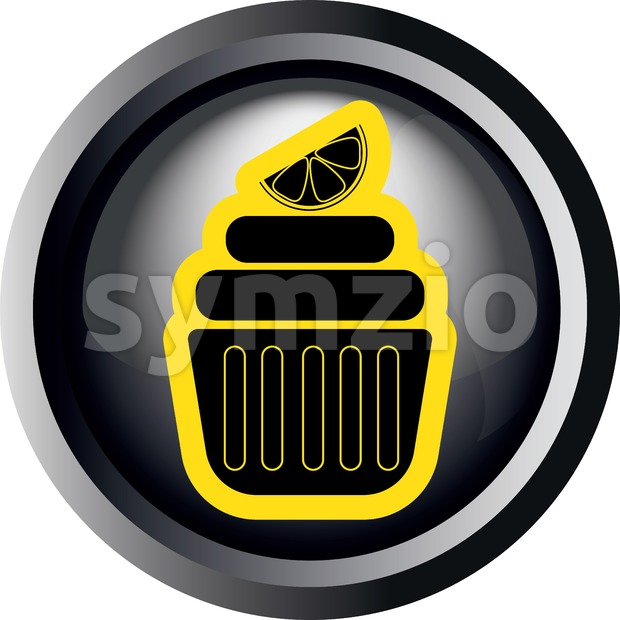 Card with a yellow cream cake with slice of lemon on top in round frame in 3d over a white background, in black and white outline style. Digital Stock Vector