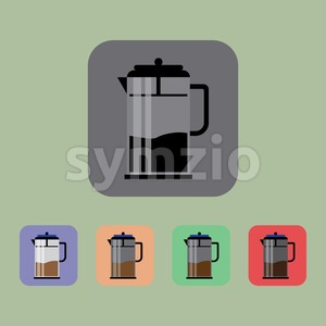A jug of coffee set, over a light green background. Purple, orange, black and red. Digital vector image Stock Vector