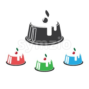 Candy card with set of big fruit cream cakes with chocolate and cherries, over white background. Blue, silver, red and green. Digital vector image. Stock Vector