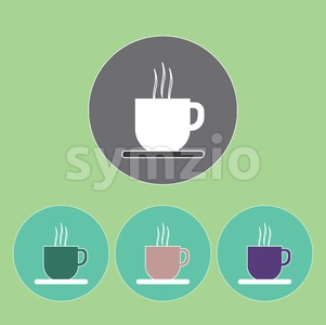 A set of cups of hot coffee with foam and steam in outlines, over a light green background, digital vector image Stock Vector