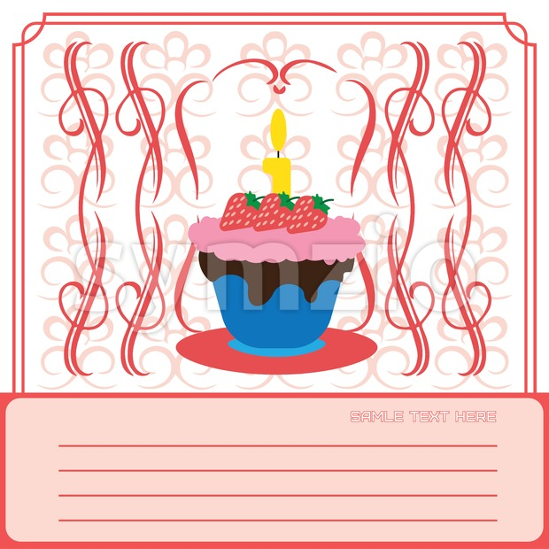 Candy card with a big colored cream cake with strawberries and seeds, burning candle on top, over white background with frames. Digital vector image. Stock Vector